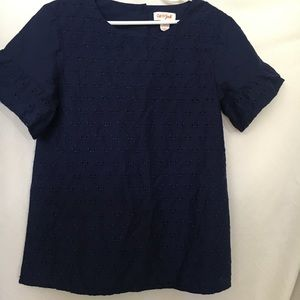Cat & Jack blue eyelet girls top. Never worn.